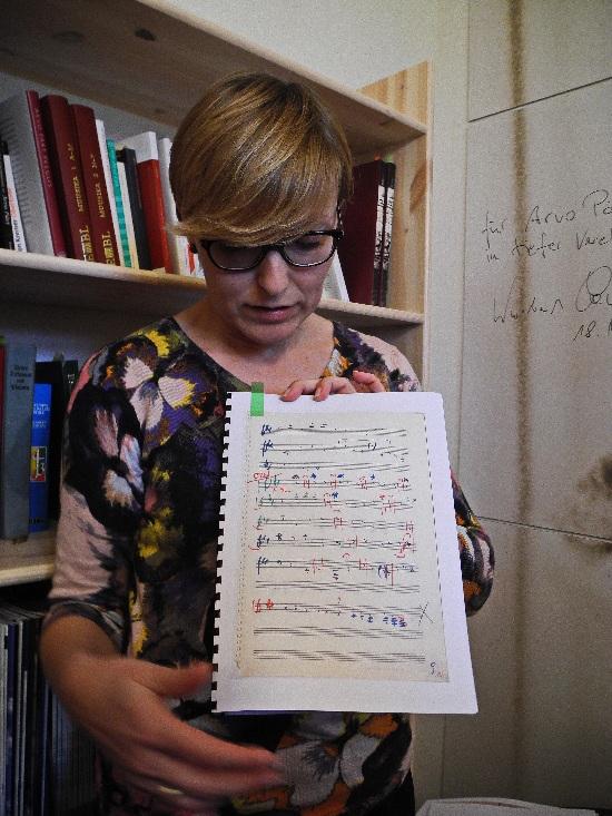 Arvo Pärt Centre, ein Notenblatt, Foto Ursula Wiegand