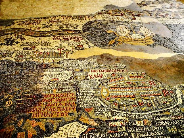00Mosaiklandkarte, Jerusalem (r), Totes Meer, Jordan mit Taufstelle Jesu