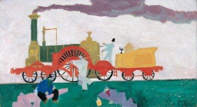 Feininger Die Lokomotive mit dem großen Rad 1910~1