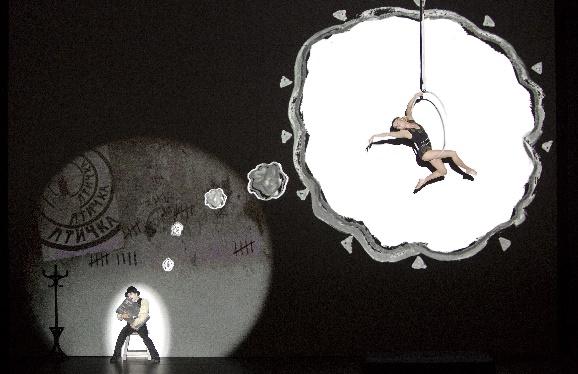 Tiago Alexandre Neta Fonseca als Clown. Pauliina Räsänen als Akrobatin in Petruschka, Foto Iko Freese I drama-berlin.de