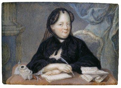 Bildnis in Witwentracht an einem Schreibtisch sitzend. Aquarell auf Elfenbein, unbekannter Künstler um 1770.  Wien, Hofburg, Präsidentschaftskanzlei.
