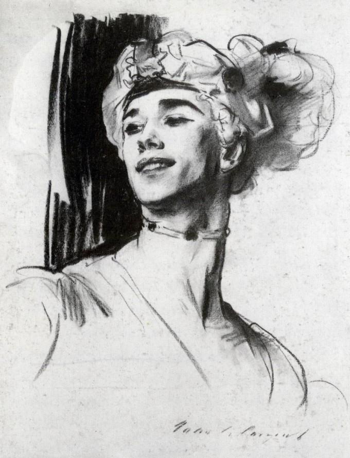 John Singer Sargent (1856–1925): Vaslaw Nijinsky in 'Le Pavillon d'Armide' (1911) — Public Domain