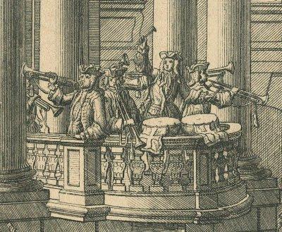 MV  Festarchitektur, 1741  Salomon Kleiner, Augsburg 1741_Trompeterchor~1