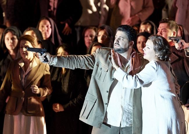 Anna Netrebko und Yusif Eyvazov beim ersten gemeinsamen Auftritt in derWiener Staatsoper (Foto: M.Pöhn)