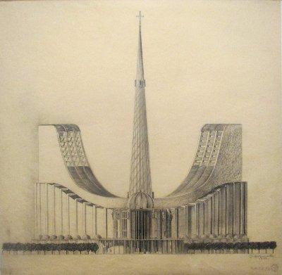 Architekturzeichnung Holzmeister Kathedrale~1