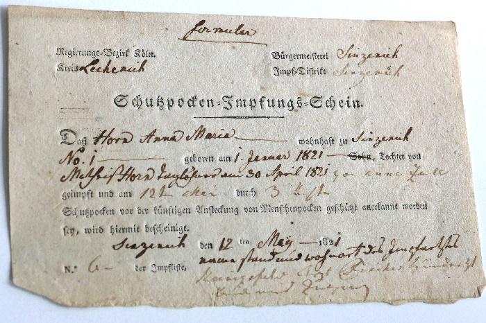 kölarchiv 5 pockenimpfung 1821 foto andrea matzker