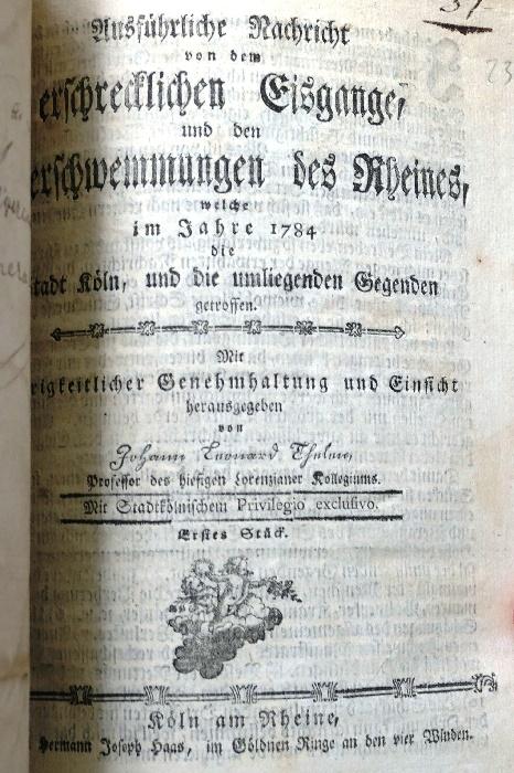 kölarchiv 6 genralvikariatsprotokoll mit der meldung des hochwassers 1784 foto andrea matzker